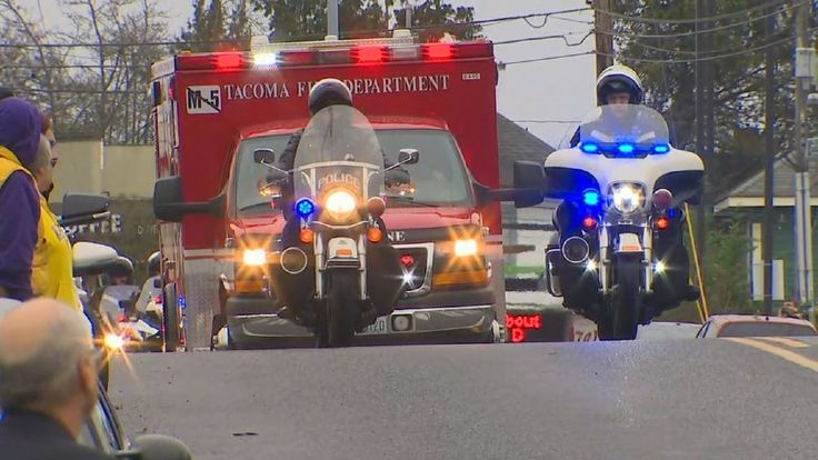 TACOMA, Wash. (KOMO) - Police from throughout the region escorted the body of slain Tacoma Officer Jake Gutierrez to a funeral home on Friday afternoon.The procession began at the Pierce County Medical Examiner's Office, 3619 Pacific Ave., and ended at the
