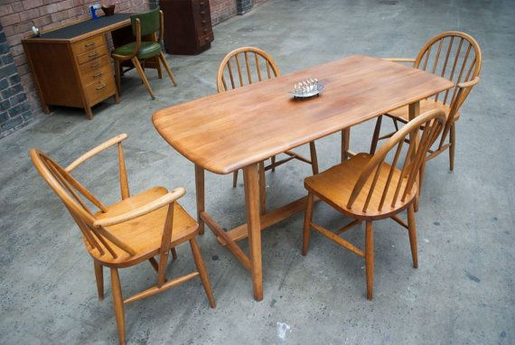 Beautiful, Restored Vintage Ercol Dining Table and Four Ercol Windsor Dining Chairs Ercol Dining Set
