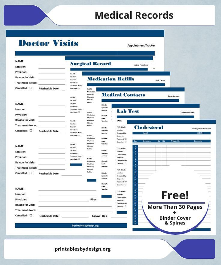 Keeping Personal Medical Records Can Be Very Beneficial When You Have Limited Ti Medical Records Medical Printables Medical Binder Printables