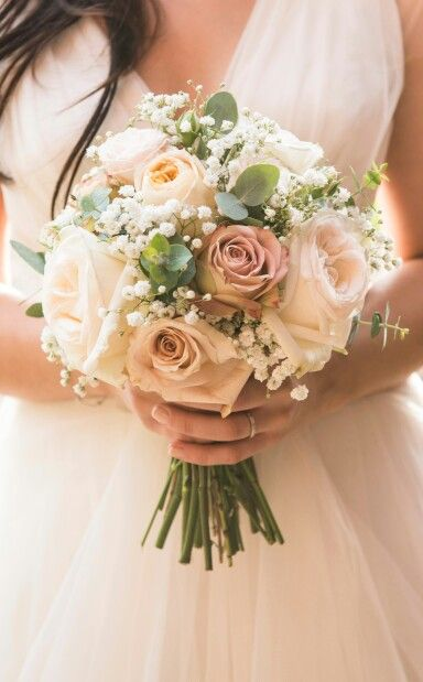 {Gorgeous But Fairly Simple Bridal Bouquet Which Showcases Ivory Lisianthus, Amnesia Rose, Sahara Rose, Baby's Breath, Baby Blue Eucalyptus, & Coordinating Fillers & Foliage}
