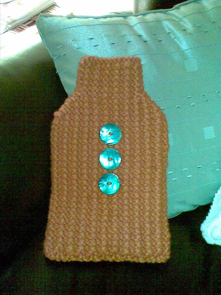 Chunky knit hot water bottle cover. Knitting Pinterest