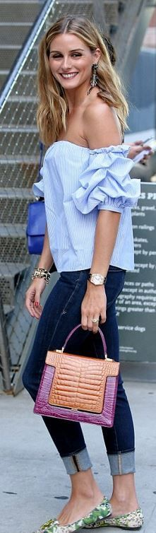 Who made Olivia Palermo's green floral print shoes, skinny jeans, blue off the shoulder top, and handbag?