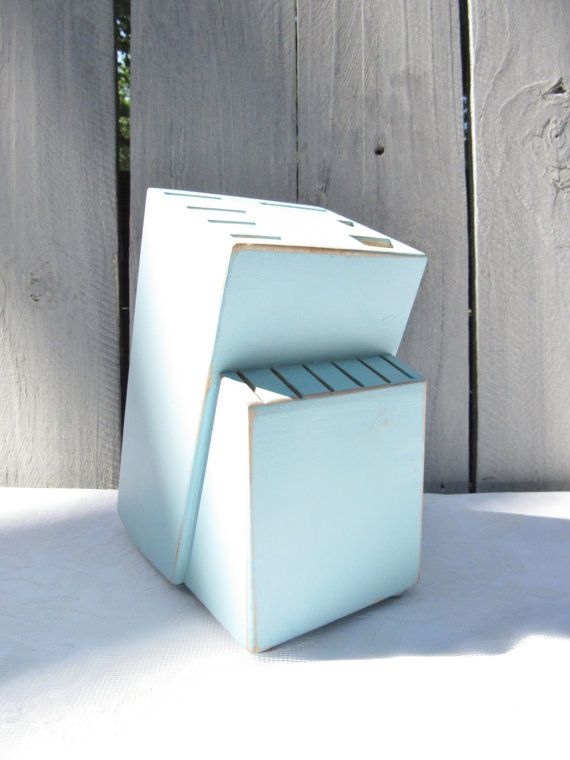 Blue Knife Block Upcycled knife storage by OliviaRoseVintageCo