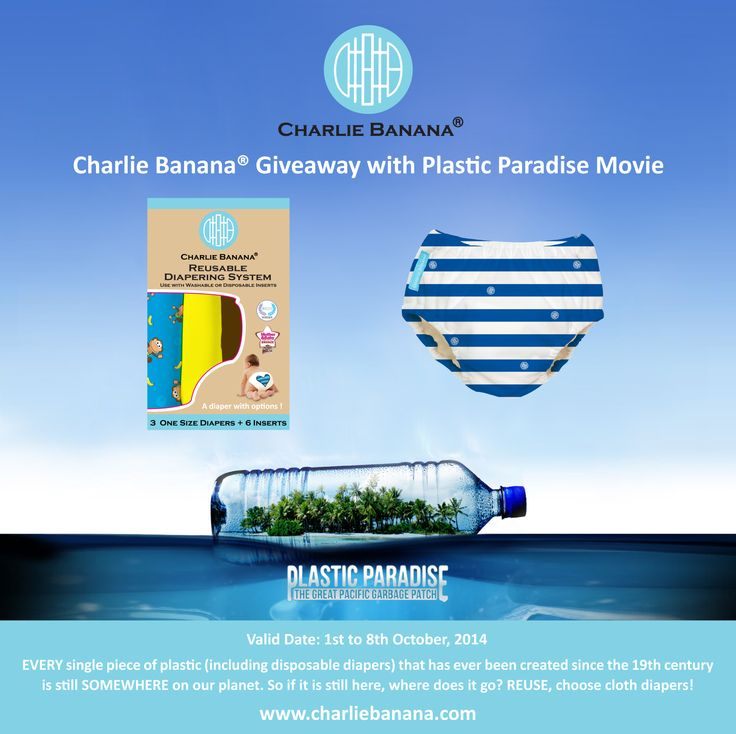 Now Finished Charlie Banana® Giveaway with Plastic Paradise Movie is live now! EVERY single piece of plastic (including disposable diapers) that has ever been created since the 19th century is still SOMEWHERE on our planet. So if it is still here, where does it go? REUSE, choose cloth diapers!   To enter the giveaway: https://www.facebook.com/lovecharliebanana?sk=app_228910107186452