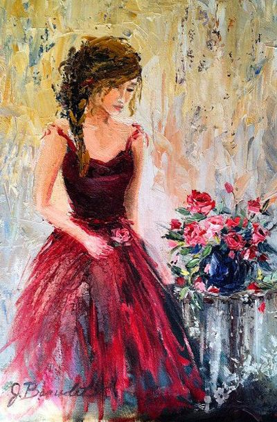 by J BEAUDET..Lovely Clusters - Beautiful Shops: Art print of Original Oil Painting Feminine Romantic Woman Figure Red Roses Impressionist 11x14