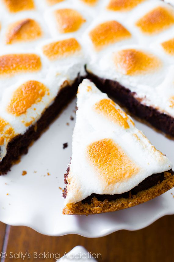 S'mores on top of a brownie pie - no campfire required! There won't be a crumb left.