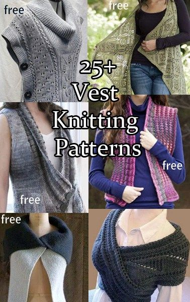 Knitting patterns for vests, most are free. Some that button on the sides, some in front, some that are draped, some with collars, some without. Scroll down to see the individual patterns and click…