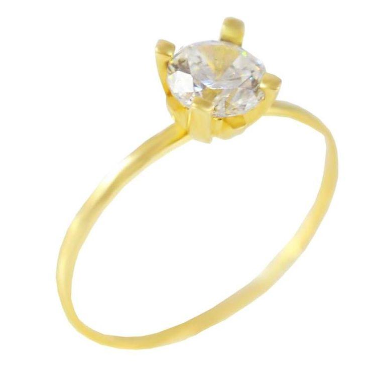 Μ181Ζ-Χρυσό μονόπετρο δαχτυλίδι