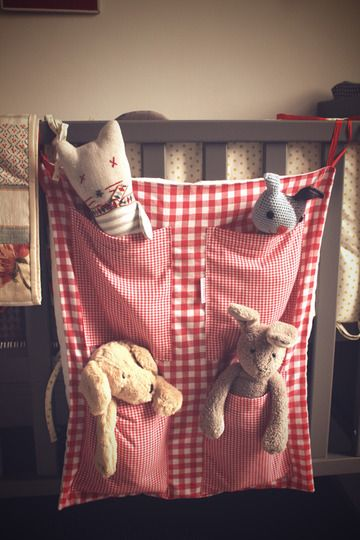 I love this idea for keeping stuffies organized.