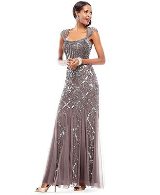 Holiday 2013 Vintage Inspired Cap-Sleeve Beaded Gown Look WOW