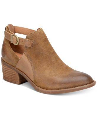 Born Carin Block-Heel Booties $99.99 Distressed leather merges with cutouts and a buckled strap design on Born's Carin ankle booties for a well-worn must-have daytime look in popular block heel styling.