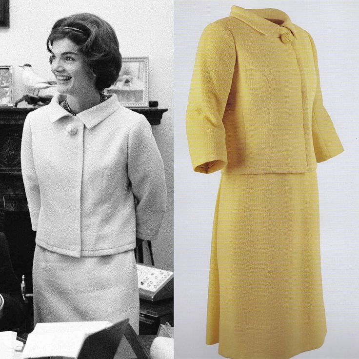 Jackie Kennedy visits her husband's senate office in Washington DC. Jackie is wearing a yellow wool suit designed by Givenchy.