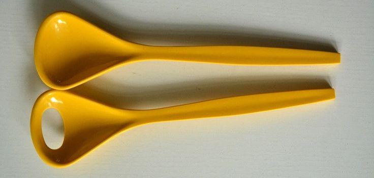 Kayser Salatbesteck in 1970er Gelb als toller Farbtupfer auf der Frühlingstafel Osteressen von VintageLoppisStyle auf Etsy
