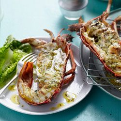Seafood - ah, seafood!! ^_^ Braaied crayfish with roasted garlic and parsley butter