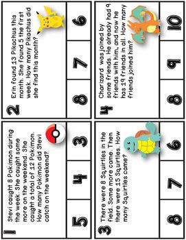 This little freebie is my way of saying thanks to the over 2000 followers who have confidence in my creations! These were created to be used with first grade Engage NY Math module 2 lesson 23, and are included in my Engage NY math resource pack.Included in this freebie...Clip Cards Directions Poster12 Word Problem Clip Cards with Pokmon ThemeRecording Sheet and Answer Sheet to record clip card answersCreate Your Own Pokmon Story Problems Class BookNumber Sentence CardsPokmon Character…