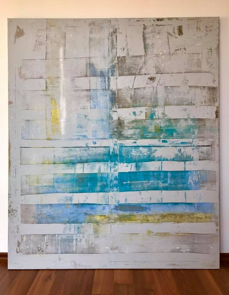 Minimalist, modern abstract contemporary acrylic painting on canvas dominated by blue, yellow and grey. Concrete effect. Ready to hang. 130*110*2cm