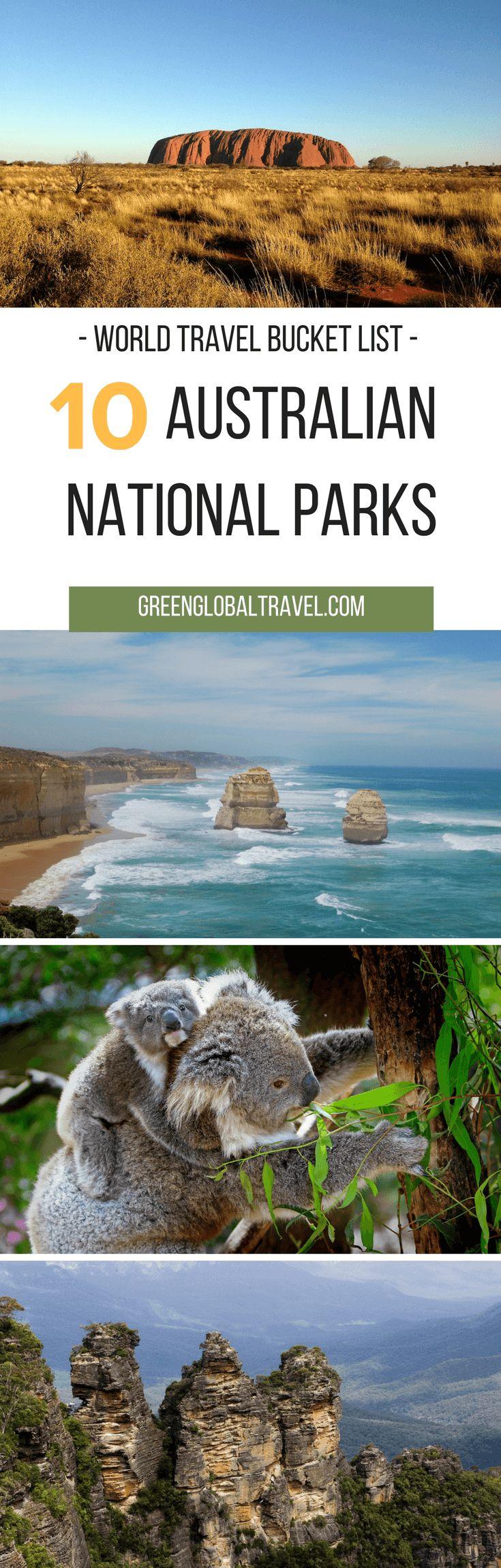 The Top 10 Australian National Parks For Your World Travel Bucket List, including Great Otway, Kakadu, Whitsunday Islands, Daintree, Uluru-Kata Tjuta, and more. via @greenglobaltrvl