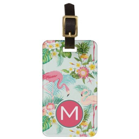 Vintage Tropical Flowers And Birds | Monogram Luggage Tag - tap, personalize, buy right now! #pattern #patterns #illustrations #illustration #gift #gifts #giftideas #giftforher #animal #animals #monogram #monogrammed #initial #