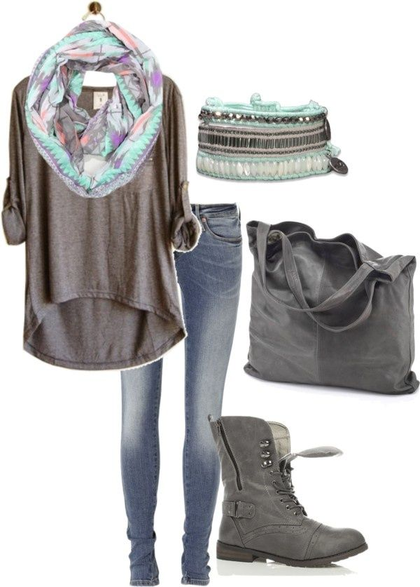 Fall & Winter. Grey combat boots. Jeans. Grey rolled up sleeve. Pretty scarf. Grey tote.