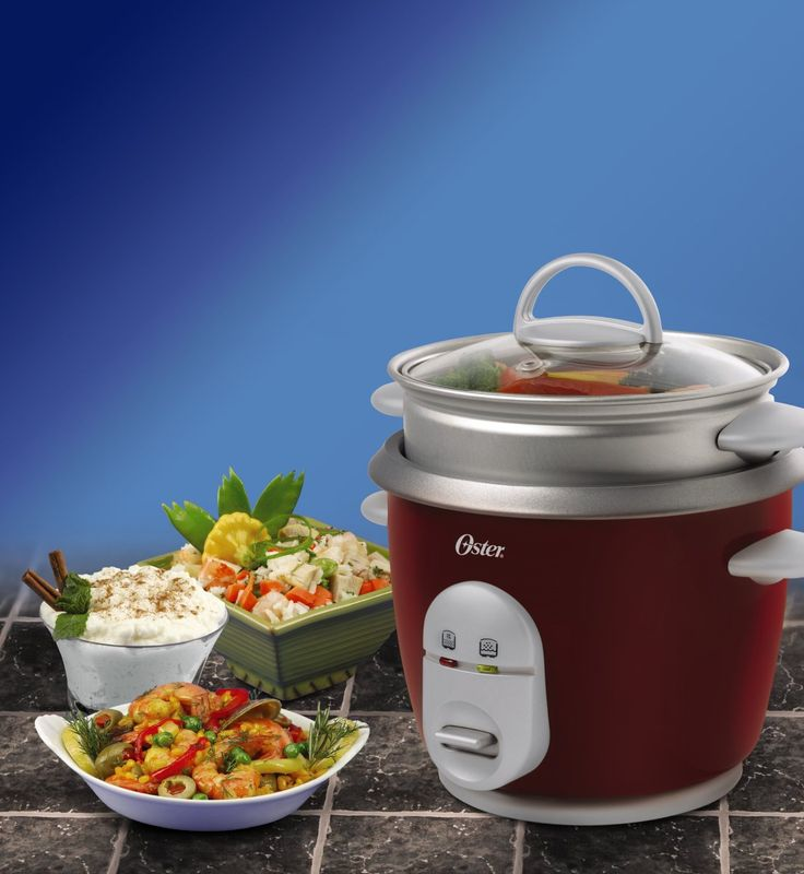 Oster Red 6-Cup (Cooked) Rice Cooker with Steaming Tray is basic but