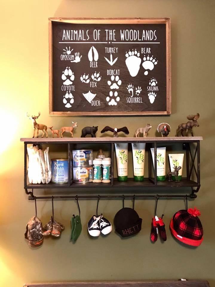 Woodland rustic nursery shelf