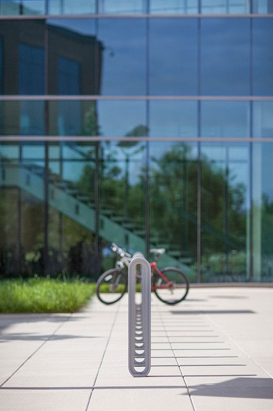 Olympia Bike Racks shown with Aluminum Texture powdercoat at the National Collegiate Athletic Association - NCAA, Indianapolis, Indiana