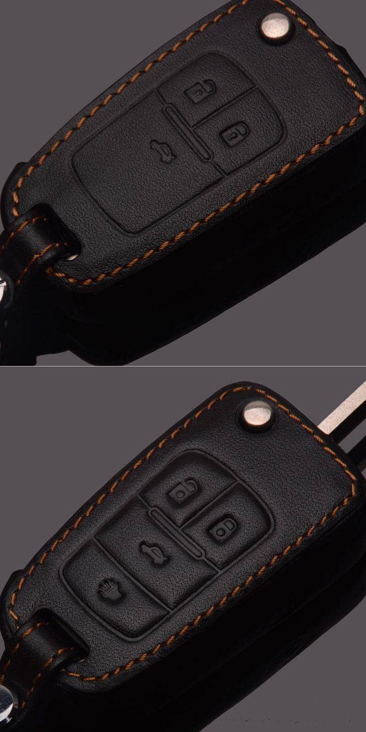 [Visit to Buy] Genuine Leather Case For Chevrolet Orlando Lacetti Aveo Captiva Cruze Epica Sail Car Key Wallet For Chevrolet Key Bag Cover #Advertisement