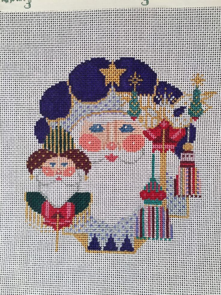 Painted Cross Stitch Canvas Santa Head C38V By Shelly CANVAS ONLY #Shelly