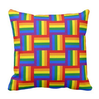 Gay Pride Rainbow Chevron Quilt Block Pillow - customizable