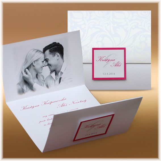 Luxusní otevírací svatební oznámení s fotkou SF203