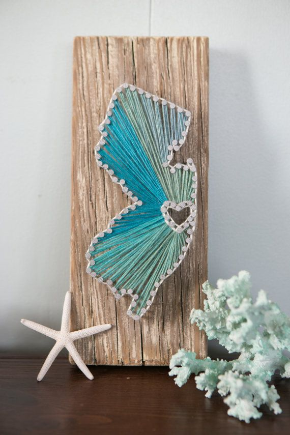 New Jersey Driftwood String Art (I like the different colors)