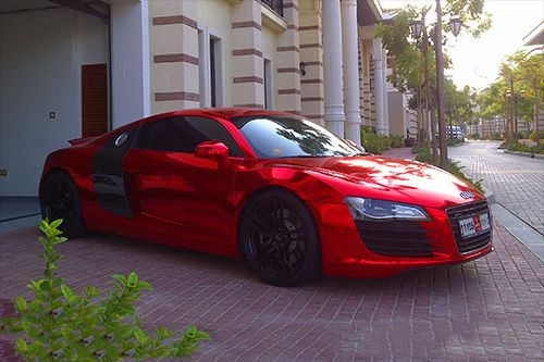 chrome red audi r8