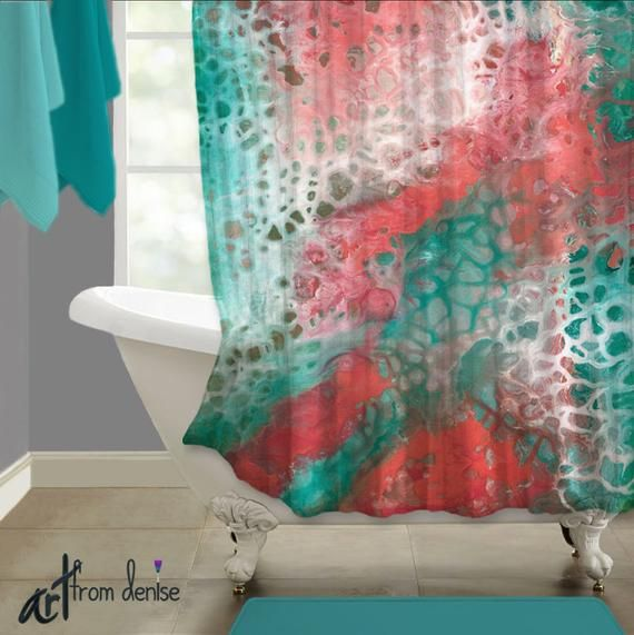Teal Coral Gray Abstract Shower Curtain Art Aqua Seafoam Green