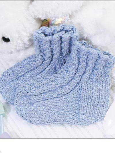 Knit Baby Cables Bootie Socks