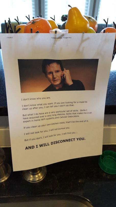 Liam Neeson's 'Taken' character Bryan Mills has become the unlikely saviour of an exasperated father who got fed up with his messy kids. The unidentified dad used Mills' iconic speech from 'Taken' to...