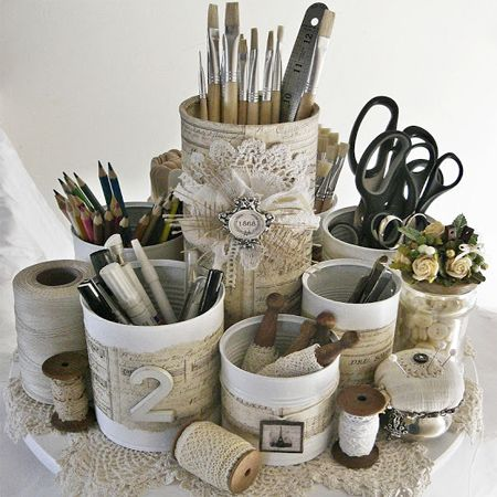 Best recycled can ideas shabby chic desk organiser