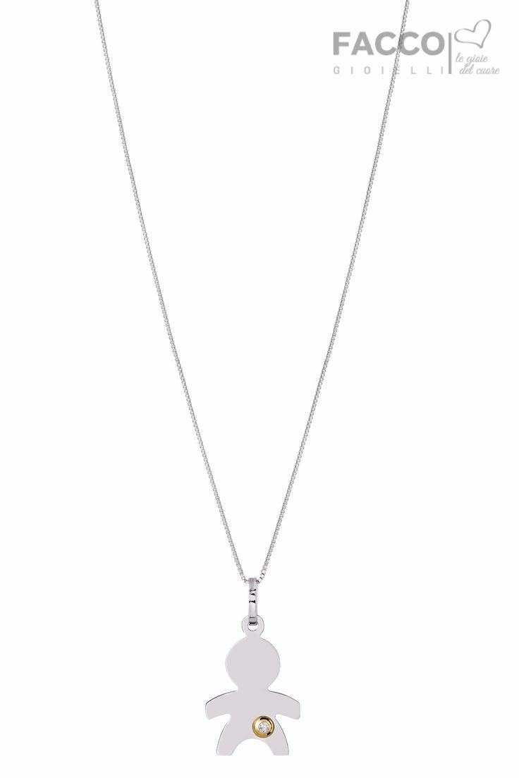 Collana mamma, Facco Gioielli, in oro bianco 750‰, medaglia bambino con diamante ct 0,01.