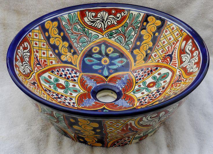 #022) Vessel 16.5 Mexican Bathroom Vanity Ceramic Basin Sink