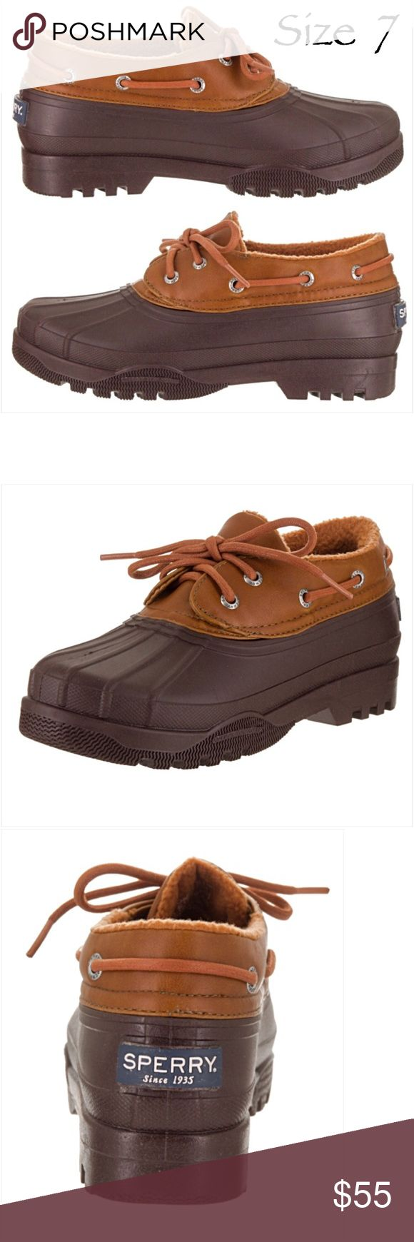 Size 7 Sperry Duck Rain Waterproof Shoe NEW Amazing Sperry Top Sider rubber duck boots shoes in brown cognac. Stay dry & cute in these waterproof leather & rubber shoes. Lace up closure for secure fit & thick rubber soles with great traction. Perfect in snow or rain!  True to size NEW Without Tags/Box Size 7 Sperry Shoes Winter & Rain Boots