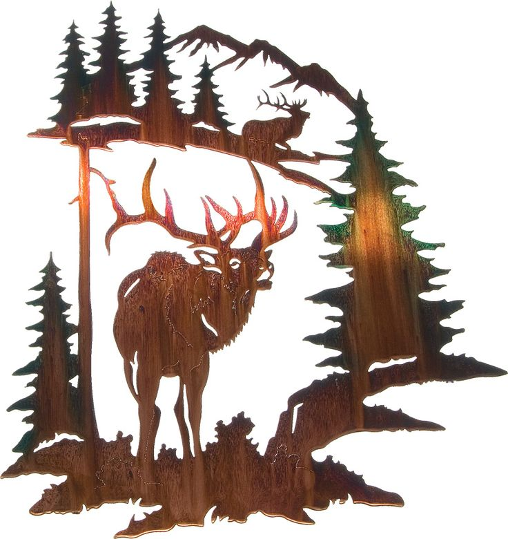 "28"" Elk in Forest Wall Art www.rusticeditions.com"