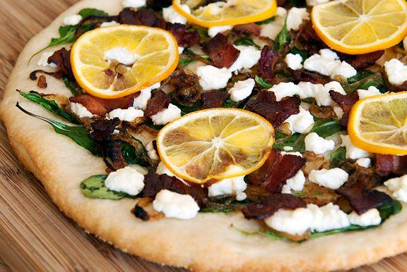 Meyer lemon, bacon, goat cheese, arugula, and caramelized onion pizza