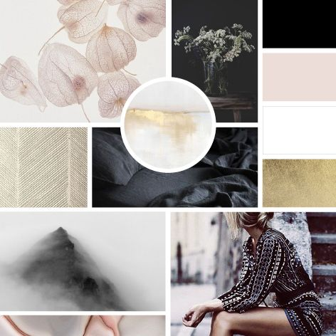 branding | moodboard | color inspiration | rose | gold | black & white
