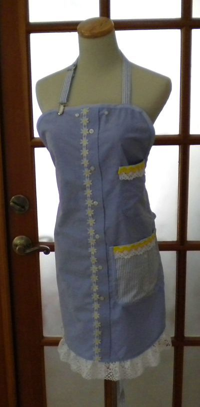 aprons+from+shirts | apron design. I made them using two of my husband's old work shirts ...