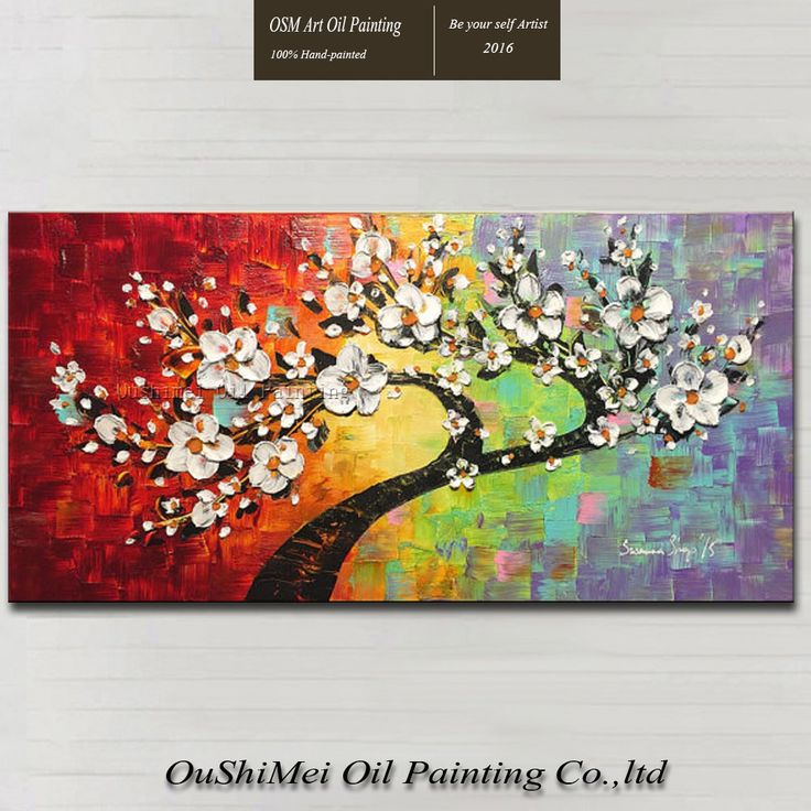 2016 New Arrival High Quality Hand-painted Modern Colorful Flowers Oil Painting On Canvas Knife Painting Texture Oil Paintings