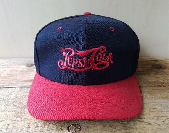 62f4741c99ad7 Vintage PEPSI-COLA Snapback Hat Made in USA Classic Script Original 2 Tone  Baseball Cap Pepsi Beverage Promo Ballcap