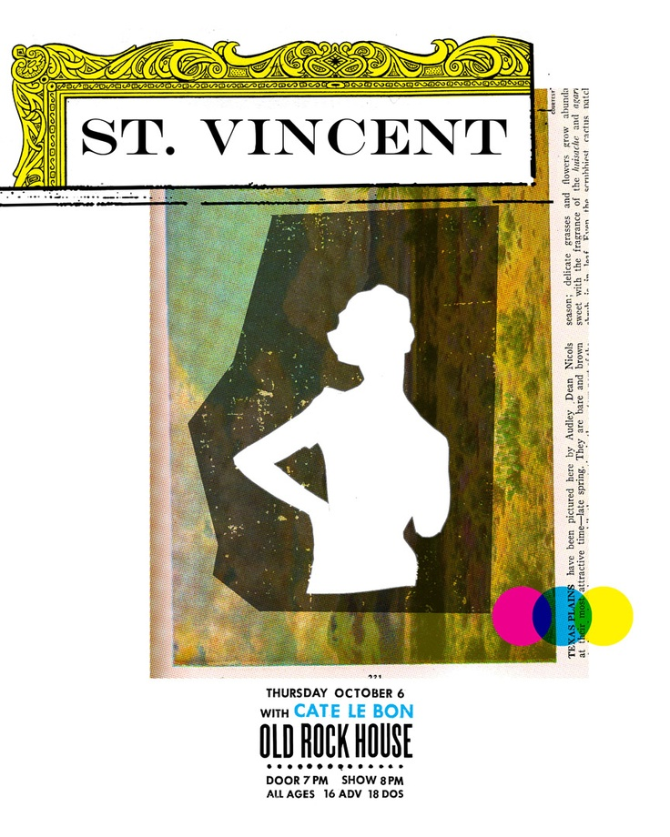 Poster done by Sleepy Kitty for a St. Vincent show from October 6, 2011.