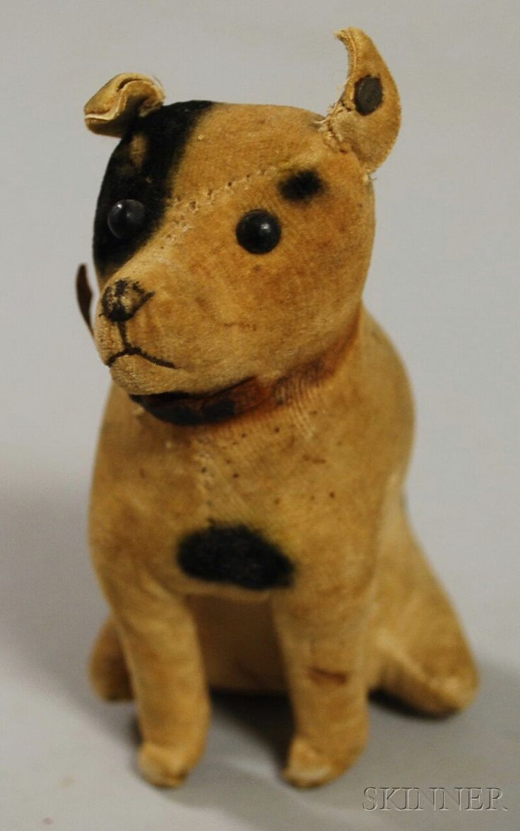 DISCOVERY - SALE 2616M - LOT 57 - EARLY VELVET STEIFF SEATED DOG, GERMANY, BLACK SHOEBUTTON EYES, EMBROIDERED MOUTH, SMALL UNDERSCORED STEIFF BUTTON IN EAR, UNJOINTED BO - Skinner Inc