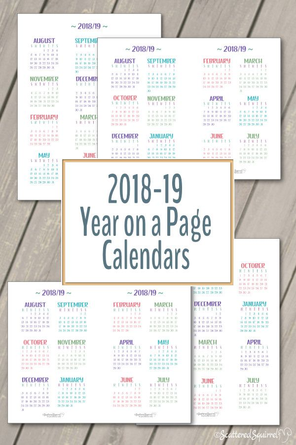 Academic And 2019 Year On A Page Calendar Printables Planner Pages