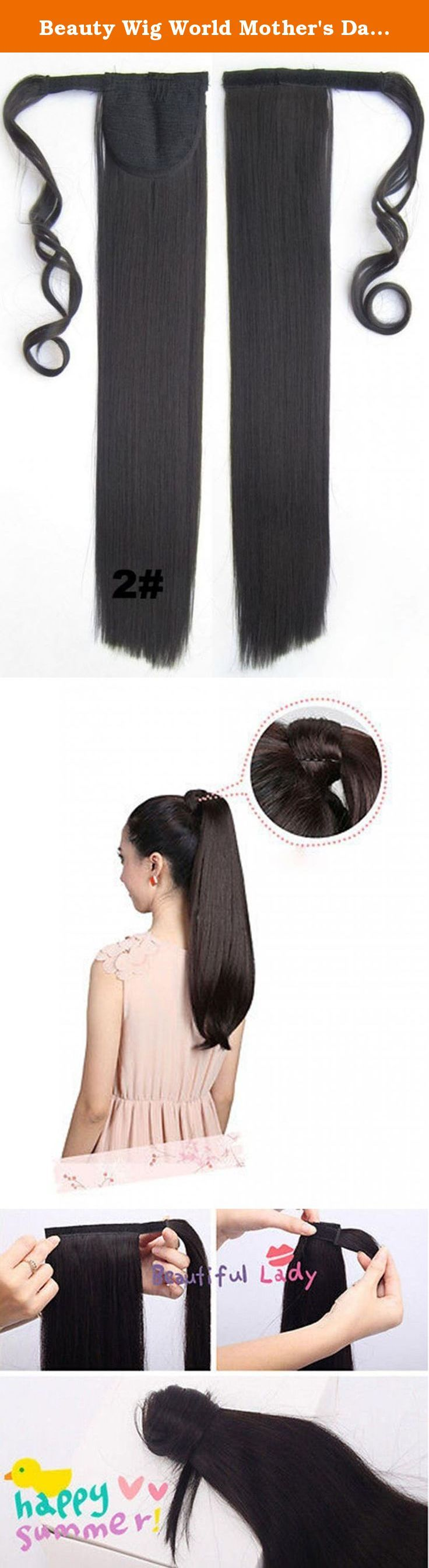 """Beauty Wig World Mother's Day Gift 22""""/55cm 90g Straight Clip In/on Wrap Around Ponytail Extension for Women Big Discount Synthetic Hairpiene - #2 Darkest Brown. Wig Care Instruction Washing & Care - Soak it with warm water & conditioner for 10 minutes and rinse the wig thoroughly, then dry it by towel; - Hang up by clips and let it dry in a natural way; - Don't use any form of curling roller, hair straightener or dryers as it is synthetic materials; - No hair spray. Restyling - Comb it…"""