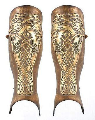 "Wonderful Celtic Greaves.  A greave (from the Old French ""shin, shin armour"" from the Arabic jaurab, meaning stocking) is armour that protects the legs."